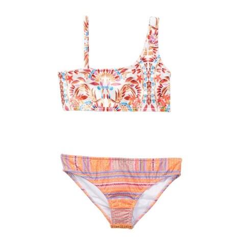 Azul Little Girls Orange Mayan Velvet One Shoulder Bikini 2 Pc Swimsuit