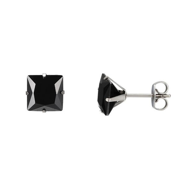 Black Princess Cut Earrings Studs Cubic Zirconia Stainless Steel 6mm Mens Ladies