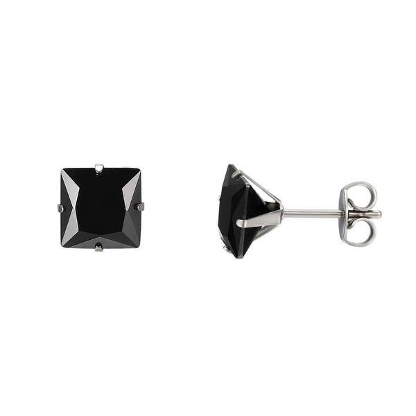 Princess Cut Black Earrings Cubic Zirconia Studs Mens Ladies 7mm Stainless Steel