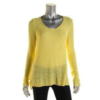 Nic + Zoe Womens V Neck Open Stitch Pullover Sweater