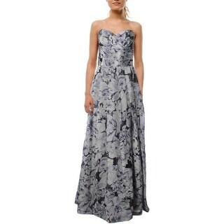 Lauren Ralph Lauren Womens Belissimo Evening Dress Floral Print Strapless