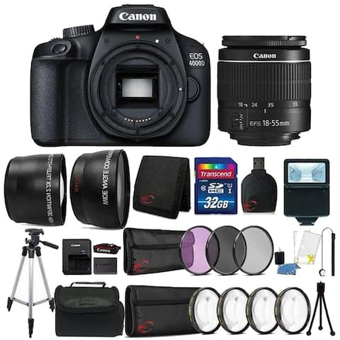 Canon EOS 4000D Rebel T100 18MP Digital SLR Camera with 18-55mm Lens with 32GB Bundle