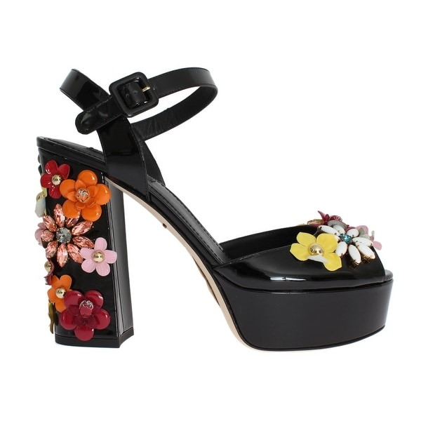 a1ad3561969 Shop Dolce   Gabbana Black Leather Crystal Sandals - Free Shipping ...