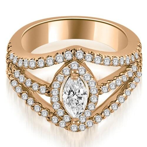 1.20 cttw. 14K Rose Gold Halo Marquise Cut Diamond Engagement Diamond Ring