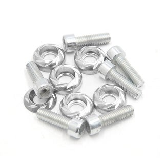 6 Pcs 6mm Thread Dia Carved Style Motorcycle License Plate Mounting Bolts Screws