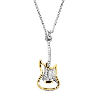 Electric Guitar Pendant with Diamonds in Sterling Silver & 14K Gold