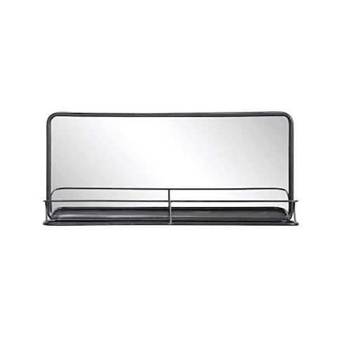 Rectangular Metal Wall Mirror with Shelf Double Vanity Bathroom Mirror - Exact Size