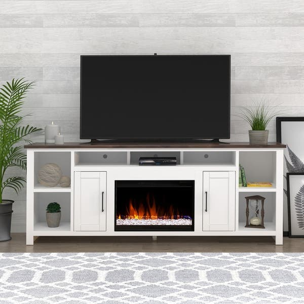 86 Inch White Rustic Media Tv Stand W Electric Fireplace Incluced Overstock 31411636