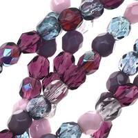 Czech Fire Polished Glass Beads 4mm Round Purple and AB Mix (50)