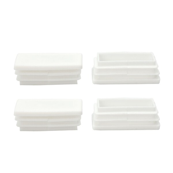 4pcs 25 x 50mm Plastic Rectangle Ribbed Tube Inserts End Cover Pad Furniture Chair Table Feet Floor Protector