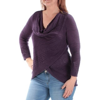 INC $70 Womens New 1202 Purple Sheer 3/4 Sleeve Cowl Neck Faux Wrap Top L B+B