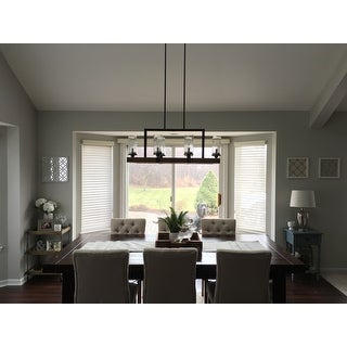 Vineyard Metal And Wood 6 Light Chandelier With Seeded