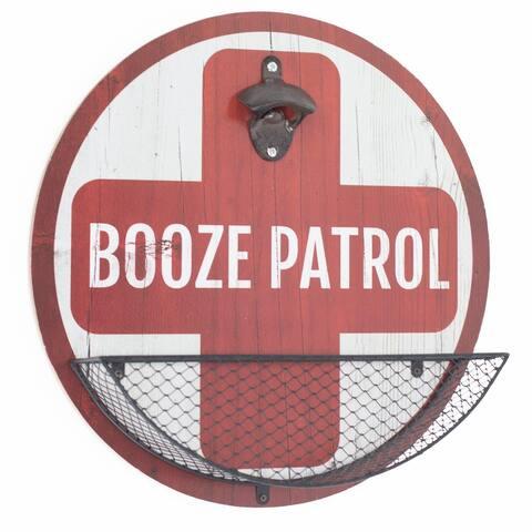 """Rustic Vintage 'Booze Patrol' Bottle Opener & Cap Catcher - 14"""""""