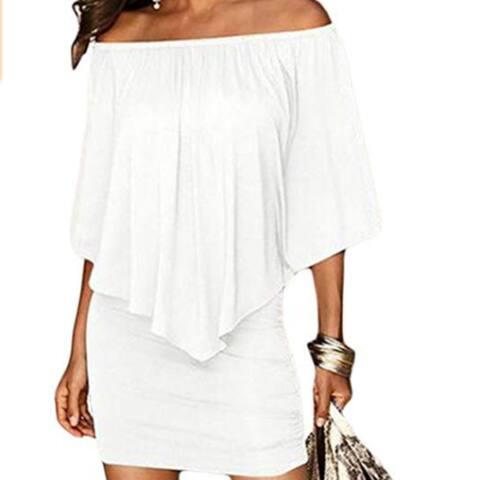 Slash Neck Women Mini Dress Autumn Style Off Shoulder Sexy Dresses