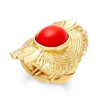 Macys Thalia Sodi Gold-Tone Red Stone Fan Stretch Ring - Gold