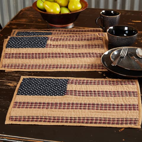 Patriotic Patch Placemat Quilted Set of 6 12x18 - Placemat 12x18