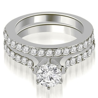 1.90 CT Cathedral Round Cut Diamond Engagement Matching Set in 14KT - White H-I