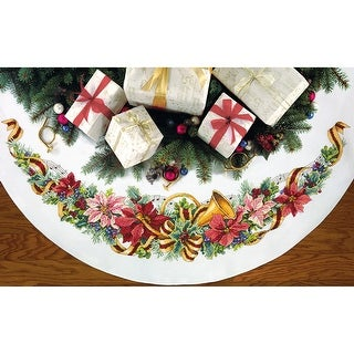 """Holiday Harmony Tree Skirt Counted Cross Stitch Kit-45"""" Round 11 Count"""