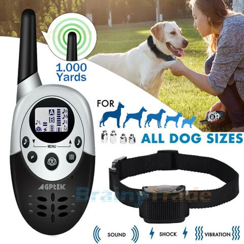 Dog Sound Vibrate Shock Collar Remote Waterproof Electric 1000Yard Pet Training - 8' x 10'