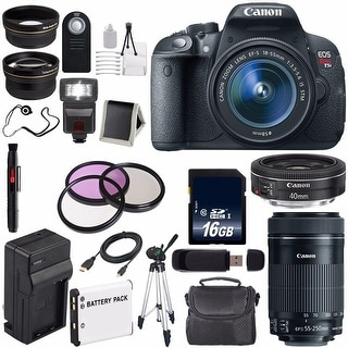 Canon EOS Rebel T5i 18 MP CMOS Digital SLR Camera(International Model) + Canon EF-S 55-250mm Lens Bundle