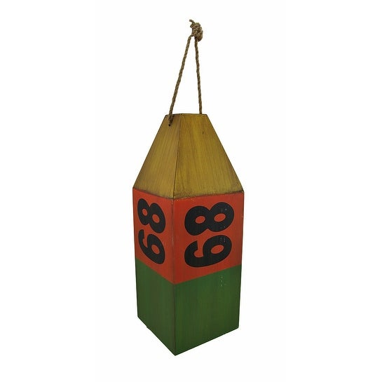Wooden Antiqued `68` Buoy Nautical Decor Green/Red/Yellow