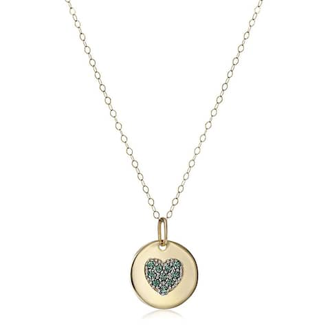 """Crystaluxe May Heart Disc Pendant with Green Swarovski Crystals in 14K Gold, 18"""""""