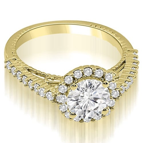 1.45 cttw. 14K Yellow Gold Antique Style Halo Round Cut Diamond Engagement Ring
