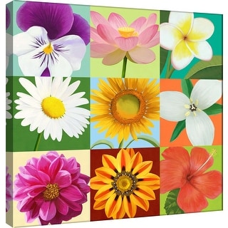 "PTM Images 9-100061  PTM Canvas Collection 12"" x 12"" - ""Florals 9 Up"" Giclee Flowers Art Print on Canvas"