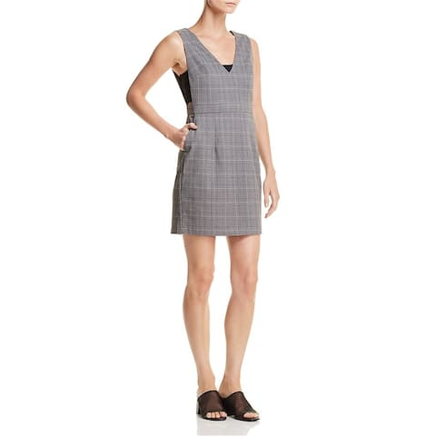 Aqua Womens Plaid Jumper Sheath Dress