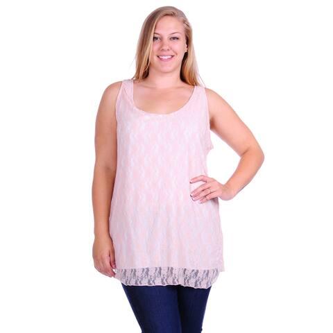 Simply Ravishing Women's Plus Size Sleeveless Lace Double Layered Tank Top