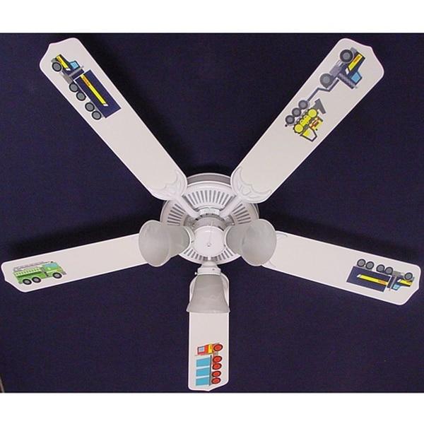 Tonka Big Rig Trucks Print Blades 52In Ceiling Fan Light Kit - Multi