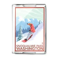 Snoqualmie Pass, Washington - Snowboarder Scene - Lantern Press Artwork (Acrylic Serving Tray)