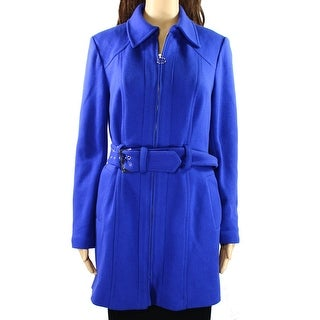 INC NEW Blue Women's Size Medium M Solid Full-Zipped Belted Coat