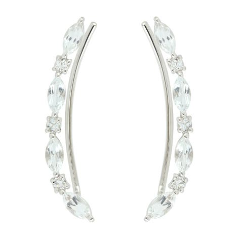Natural Topaz Ear Climber Earrings 925 Sterling Silver Jewelry