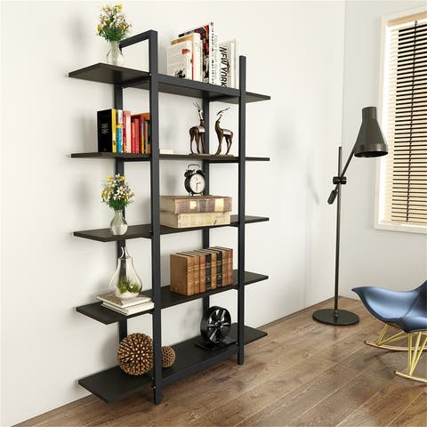 5-Tier Display Bookshelf, Vintage Industrial Bookcase