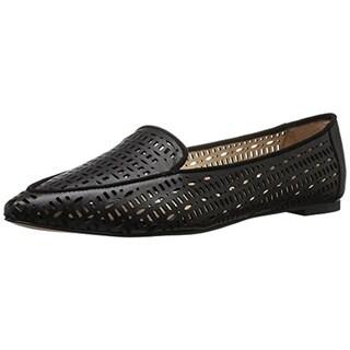 Franco Sarto Womens Soho Flats Leather Perforated Black 7 Medium (B,M) - 7 medium (b,m)