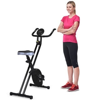 Costway Folding Magnetic Exercise Bike LCD Display 3.5lbs Flywheel Resistance Adjustable - Black