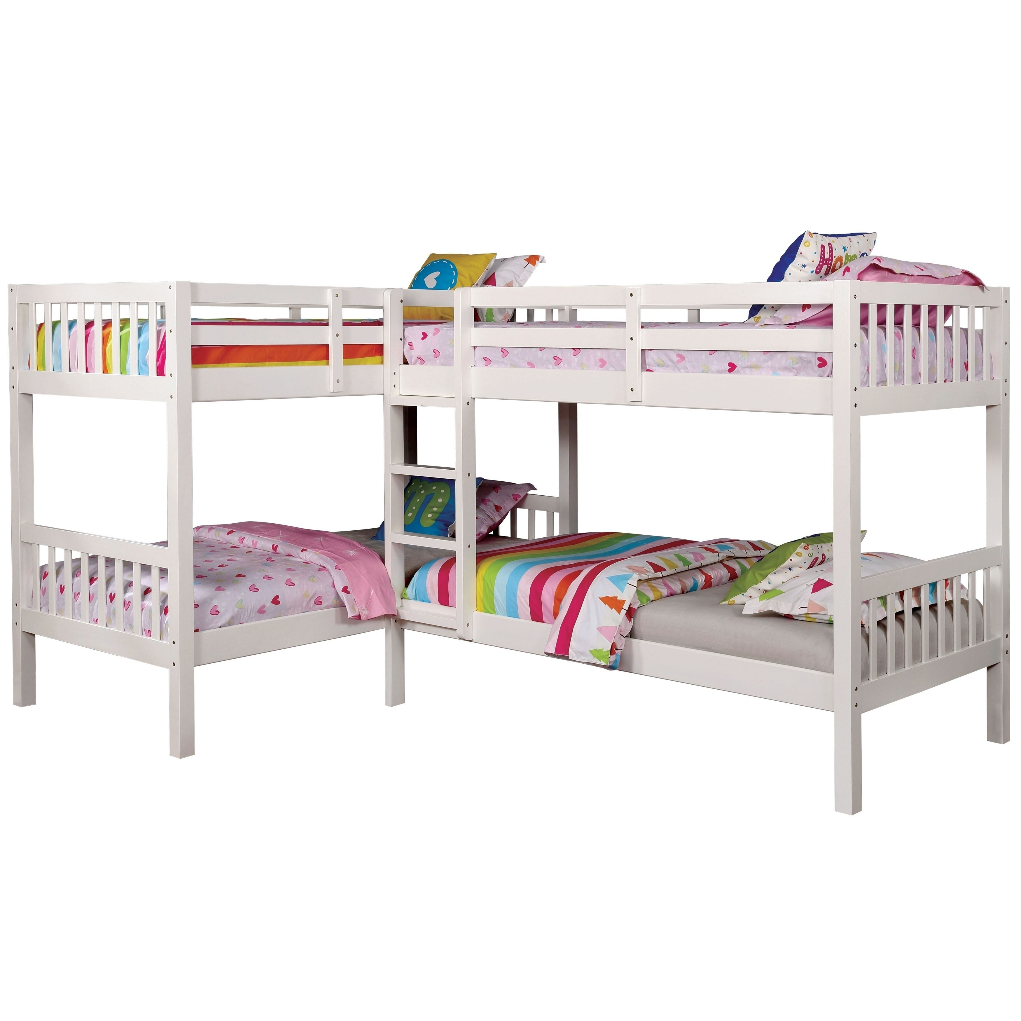 Picture of: Furniture Of America Jis Modern Twin Solid Wood L Shaped Bunk Bed Overstock 14406666