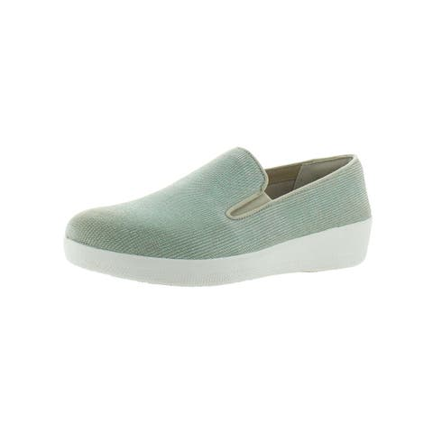 Fitflop Womens Houndstooth Print Superskate Slip-On Shoes Suede Slip Resistant
