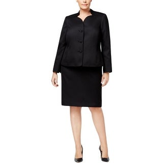 Le Suit Womens Plus Skirt Suit Scalloped Work Wear