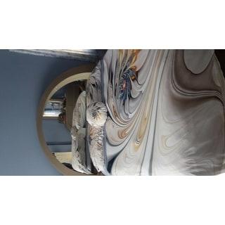 Designart 'White Stained Glass Floral Art' Modern & Contemporary Bedding Set - Duvet Cover & Shams