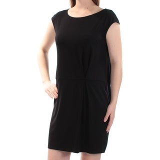Womens Black Cap Sleeve Above The Knee Sheath Casual Dress Size: S