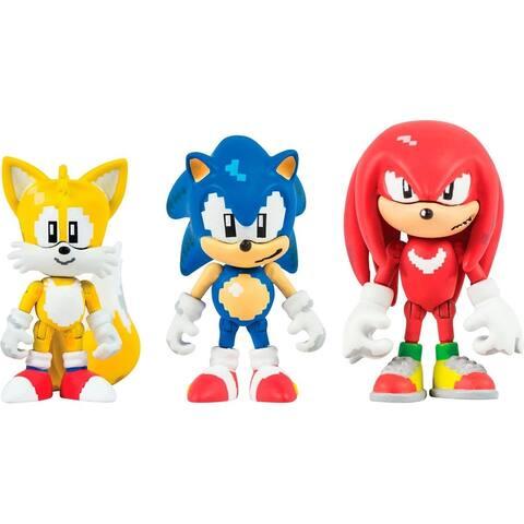 Sonic the Hedgehog Classic 16 Bit Pixel 3 Inch Figure 3-Pack w/ Rings - Multi
