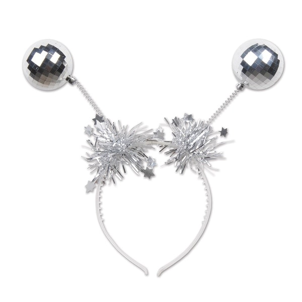 Pack of 12 Silver Tinsel and Mirrored Ball Ornaments Christmas Bopper Headbands