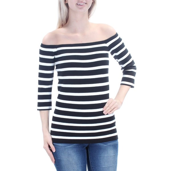 1c96729b9dc8ed Shop RACHEL ROY Womens New 1394 Black Ivory Striped Off Shoulder 3 4 Sleeve  Top S B+B - Free Shipping On Orders Over  45 - Overstock - 21266114
