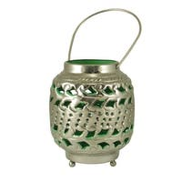"""4"""" Tropicalia Silver and Green Cut-Out Floral Tea Light Candle Holder"""