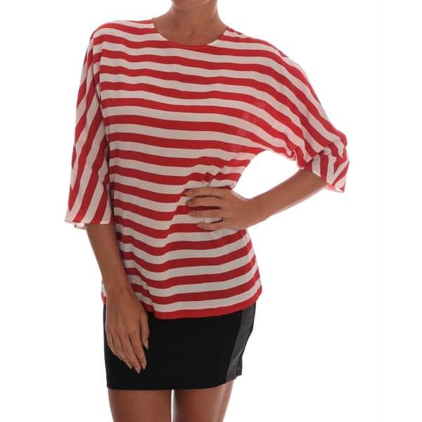 US4 XS NEW $380 DOLCE /& GABBANA Blouse T-shirt White Cotton Silk Wrap IT38