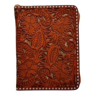 3D Western Bible Cover Hand Tooled Floral Leather Zipper Natural
