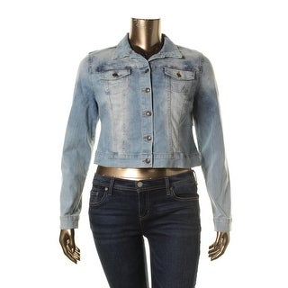 Jessica Simpson Womens Juniors Pixie Denim Jacket Light Wash Front Pocket
