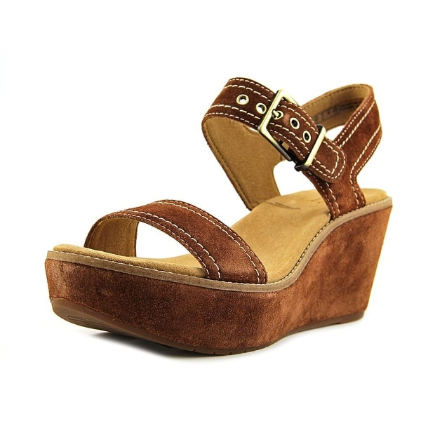eee2fd5e473b Shop Clarks Artisan Aisley Orchid Women W Open Toe Suede Tan Wedge ...